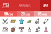 50 Sewing Linear Multicolor Icons example image 1
