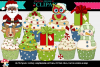 Christmas Cupcake Clipart & Lineart art example image 1