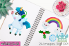 Christmas Unicorns 4 Watercolor Clipart, Instant Download example image 3