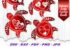 Valentines Sea Turtle Hearts SVG DXF Cut Files Bundle example image 2
