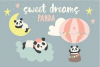 Sweet Dreams Panda, clipart and paper pack example image 1
