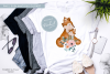 Floral Mummy and Baby Fox - Sublimation PNG Clipart example image 4