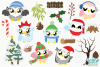 Christmas Owls Clipart, Instant Download Vector Art example image 2