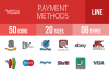 50 Payment Methods Linear Multicolor Icons example image 1