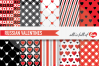 Red and Black Valentines Day Patterns Casino Love Digital Paper Pack example image 1