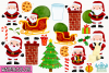 Santa Claus Watercolor Clipart, Instant Download Vector Art example image 2