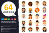 64 Avatar icons vector people collection example image 1