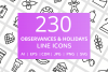 230 Observances & Holiday Line Icons example image 1