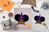 Halloween Peeking Witch Afro Girl Broom SVG Cut File example image 1