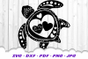 Valentines Sea Turtle Hearts SVG DXF Cut Files example image 2