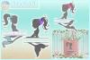 Mermaid Silhouette Split Frame Name Monogram SVG example image 1