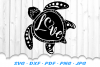 Sea Turtle Love Heart SVG DXF Cut Files example image 2