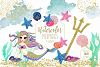 WATERCOLOR MERMAID Clipart  with Metallic Gold Confetti Mermaids Shells Starfish Ocean Watercolour Splash Graphics example image 1