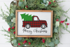 Merry Christmas - Buffalo Plaid Vintage Truck SVG example image 1