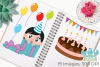 Birthday Party Girls 3 Clipart, Instant Download Vector Art example image 3