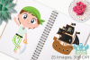 Pirate Boys 1 Clipart, Instant Download Vector Art example image 3