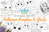 Halloween Pumpkins and Ghosts Digital Stamps example image 1