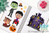 Halloween Trick Or Treaters Boys Clipart, Instant Download example image 3