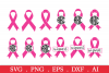 SALE! Breast cancer ribbon svg, cancer ribbon monogram svg example image 1