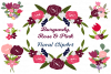 Burgundy Maroon Pink Floral Roses Sublimation Clipart Bundle example image 1