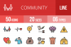 50 Community Linear Multicolor Icons example image 1