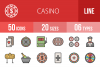 50 Casino Linear Multicolor Icons example image 1