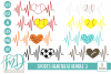 Sports Heartbeat Bundle 3 SVG, DXF, AI, EPS, PNG, JPEG example image 1