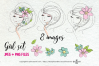 hand drawn pretty girl art set 2, girl face with flowers example image 2
