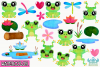 Frog Girls Watercolor Clipart, Instant Download Vector Art example image 2