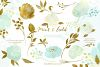 Mint and Gold. Watercolor floral clipart. example image 4