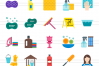 50 Cleaning Services Flat Multicolor Icons example image 2