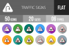 50 Traffic Signs Flat Long Shadow Icons example image 1