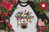 Christmas Lights Tangled Reindeer Watercolor example image 11