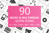 90 Music & Multimedia Glyph Icons example image 1