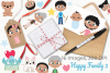 Happy Family 2 Clipart, Instant Download Vector Art example image 4