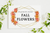 Fall Flowers Watercolor Frames, Geometric Gold Frames example image 1