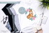 Wreath Mummy and Baby Fox - Sublimation PNG Clipart example image 2