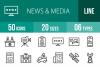 50 News & Media Line Icons example image 1