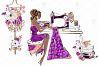 Fashion Designer Sewing Gold Glitter Clip Art example image 5