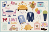 Wedding Day Vector Clipart and Seamless Pattern example image 3