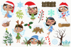 Christmas Fairies 2 Clipart, Instant Download Vector Art example image 2