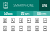 50 Smartphone Line Icons example image 1