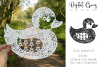 Duck paper cut design. SVG / DXF / EPS / PNG files example image 1