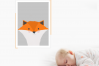 Handmade Little fox art printable in A4 to decor an special place. Baby's room, kids room. Illustration, printing. Ready to print. example image 2