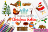 Christmas Robins Watercolor Clipart, Instant Download example image 1