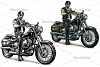 Biker in the motorcycle helmet and glasses riding a classic chopper bike. Vector black engraving  example image 1