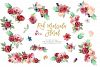 Red marsala floral watercolor clipart example image 3