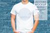 Mens Shirt Mockup Blue Brick Wall 3.2 Aspect Ratio example image 1
