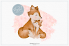 Pink Mummy and Baby Fox - Sublimation PNG Clipart example image 1