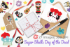 Sugar Skulls Day of the Dead Clipart, Instant Download example image 4